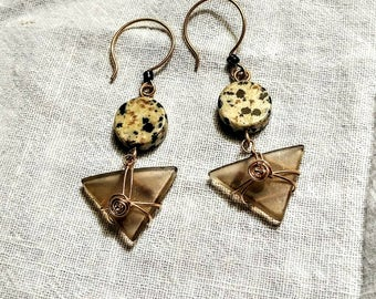 Geometric ear rings wire gold fill wrapped ear rings upcycled wine bottle ear rings with Dalmatian jasper statement unusual