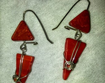 Aurora red dangle triangle ear rings wire wrapped with sterling wire both 20 and 24 ga. Jasper and seed beads accents.