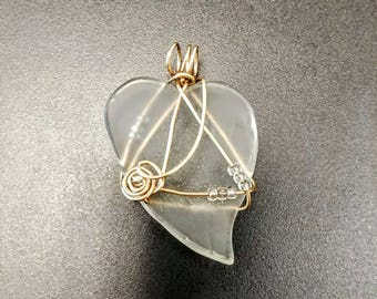 Heart, Mother's Day heart, heart pendant, clear frost glass heart, wire wrapped with goldfilled wire and glass seed beads. Gift for her.