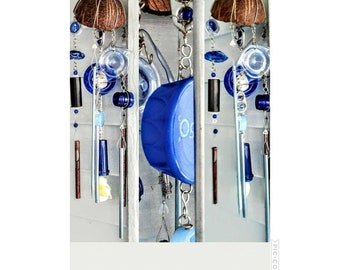 Wind Chime, Shore finds Wind Chime, upcycled repurposed, eco friendly gift, found objects Wind Chime, mixed media good housewarming gift