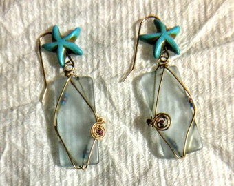 Sea glass inspired turquoise ear rings with stone star fish and seed beads 14. 20 gold fill wire wrapped. Mermaid love