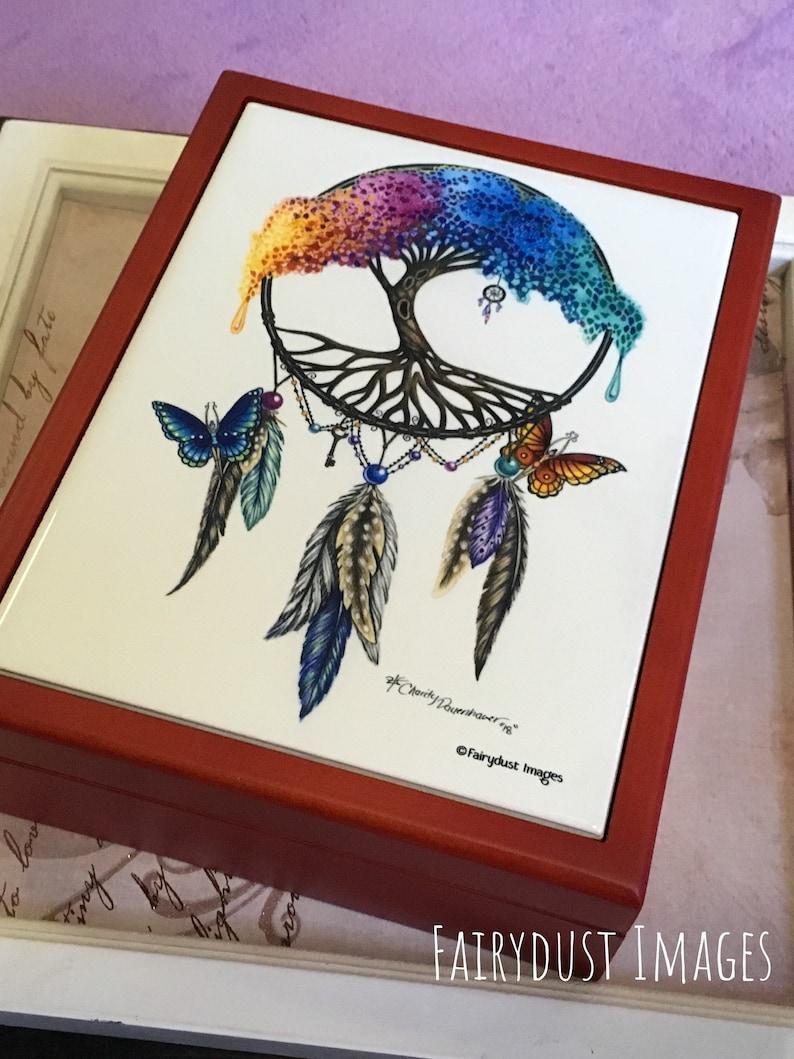 Wooden Keepsake Box Jewelry The Tree of Life Rainbow Tree