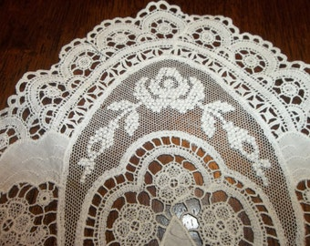 3 EXTRAORDINARY Antique French Lace DOILIE Handmade...FIGURAL  Needle Lace...Lace Collector