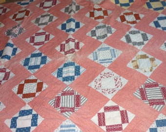 "Vintage CALICO Hand Made Patchwork Quilt...80"" by 82"" FULL.."