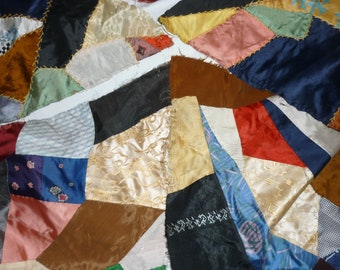 """17 Vintage PATCHWORK CRAZY Quilt Blocks...Huge 25"""" by 15"""" Diamond...Free Shipping"""
