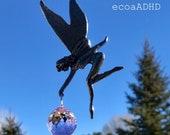 Swarovski Crystal 20mm Ball beads Pewter FAIRY Suncatcher Hanging Sun Catcher