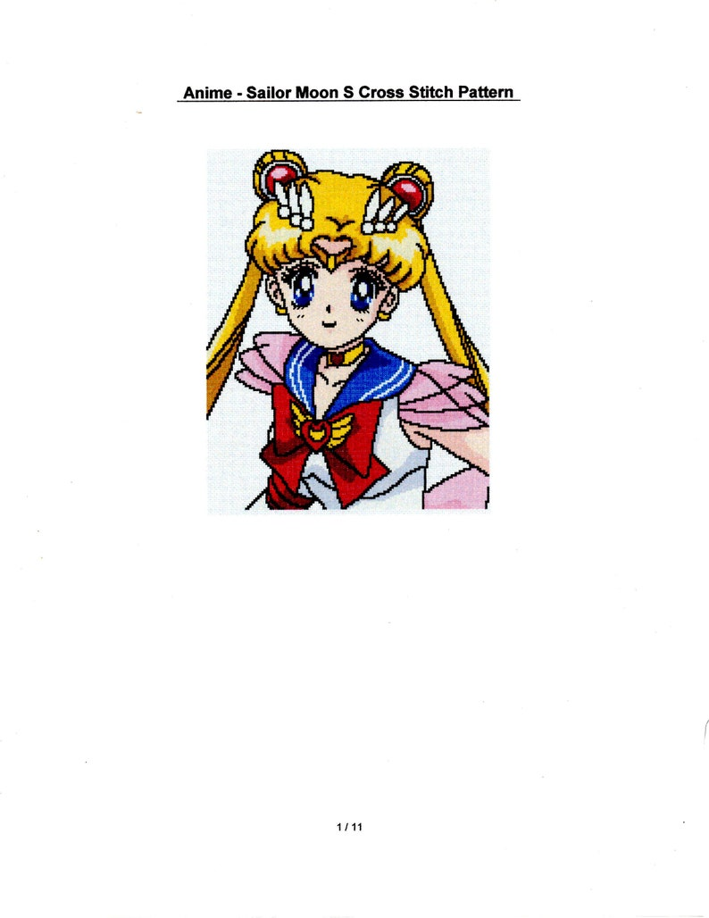 Anime Sailor Moon S Cross Stitch Pattern Pdf File Only