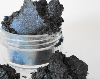 Goth Navy Blue Luster Sheen  Pigmented Smokey eyes Vegan Mineral Makeup Eye Shadow 5g Sifter Jar Eyeshadow Petite Size