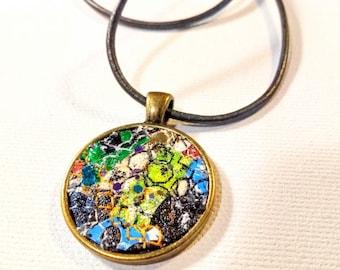 "Fiber art pendant, 1"" circle antique brass setting, stitched abstract design"