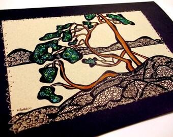 Art Notecard, Tom Thompson's West Wind, doodled landscape