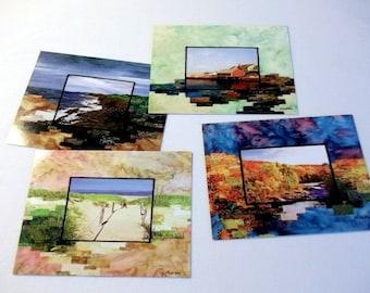 Postcard 4 pack, Fiber Art prints, quilted photo landscapes