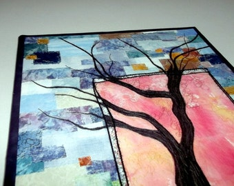 """Quitled wall-hanging, stitched tree design on abstract background, mounted on 16""""x20"""" canvas stretcher bars"""