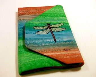 eReader or Tablet Cover, Quilted and Embroidered Dragonfly, 6.5x9 inch