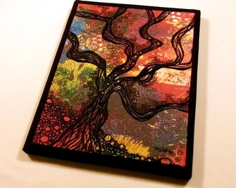 """Fiber art quilt, thread stitched/doodled, tree silhouette on fabric, free-motion quilted, 8""""x10"""""""