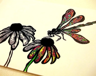 COLOURING SHEET - Flower and Insect Doodled Meditative Art, downloadable PDF