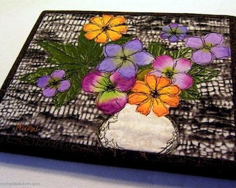 SALE Small art quilt, flower arrangement in white vase, made of silk flowers and leaves, free-motion quilted