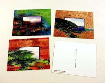 Postcard 3 pack, Fiber Art prints, quilted photo landscapes of Cape Breton, Nova Scotia, Canada