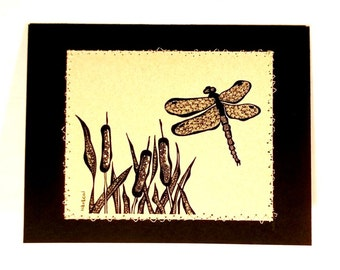 Notecard, doodled dragonfly and cattail design