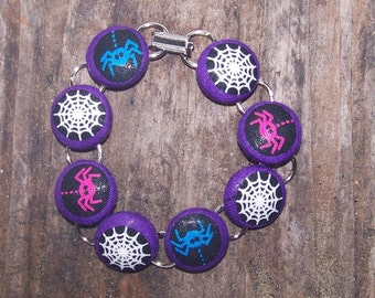 Halloween Spider and Web Button Bracelet
