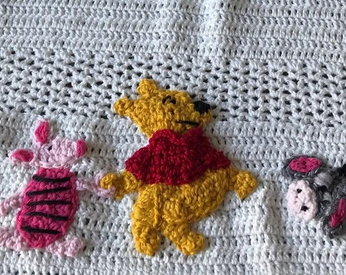 NEW DESIGN..Crochet Winnie the Pooh Disney baby blanket,Tigger,Eeyore,Piglet, Kanga/Roo, Owl,Rabbit,C. Robin, Original Baby Tuckers design