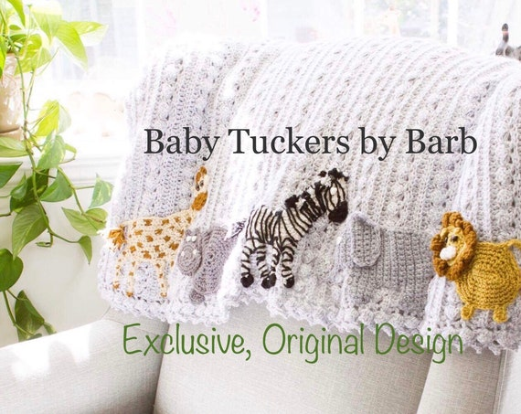 Crochet animal baby blanket, Safari,Farm,Arctic,jungle,woodland,zoo themes available,handmade Original Baby Tuckers design, nursery bedding