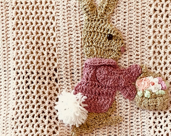 Baby blanket New Peter rabbit, Beatrix Potter inspired, hand crochet,2 sizes, many color and Applique choices, exclusive Baby Tuckers design