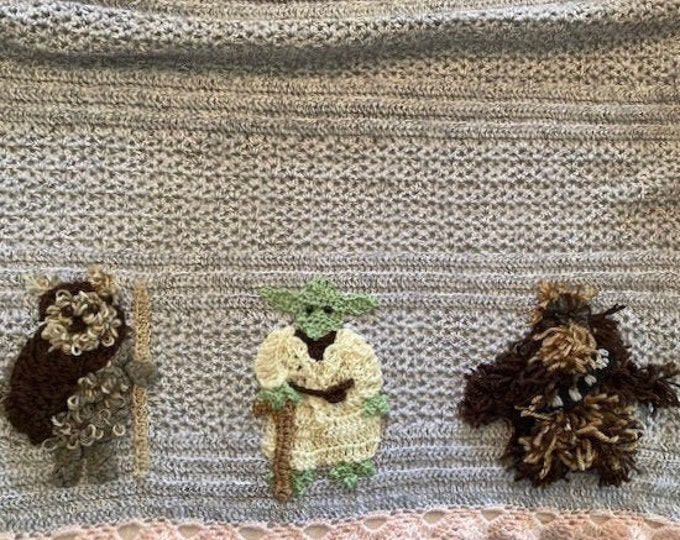 Handmade Star Wars crochet baby blanket,Ewok,R2D2,Yoda,Chewbacca,Princess Leia,Storm trooper,Darth Vader,2 sizes,many colors,Original design