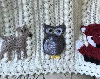 918dd6132 Crochet animal baby blanketWoodlandsowlfoxFawndeer | Etsy