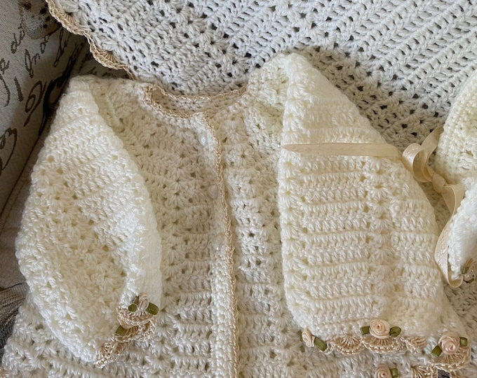 Crochet baby Christening blanket AND layette sweater set, 4 sizes, sweater, hat, booties and blanket, custom design,many colors, baby shower