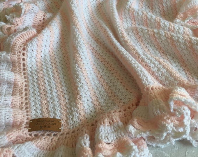 Crochet baby blanket,white and pink,ORIGINAL BABY TUCKERS design, many colors available, soft full ruffle, baby shower or welcome home gift