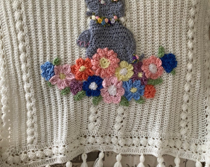 BOHO flower Baby blanket, elephant or your choice of animals and flowers,many colors,2 sizes,custom Original Baby Tuckers design,shower gift