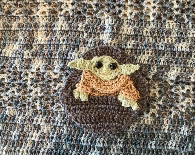 Crochet blanket Baby Yoda  Mandalorian Star Wars Baby Blanket, custom Baby Tuckers design, you choose blanket color/appliqués, Baby Shower