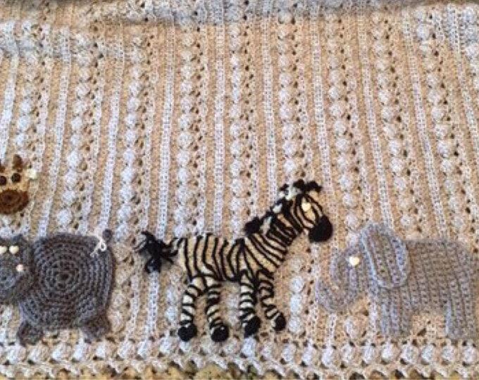 Crochet baby animal blanket, Safari,jungle,woodland,nautical,zoo, 2 sizes,animal and color choices, Baby Tuckers original design