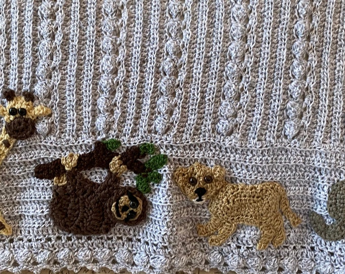Crochet sloth baby blanket, NEW design, Lion cub,Safari, Jungle, many themes available,2 sizes,choice of animals/colors,Baby Tuckers designs