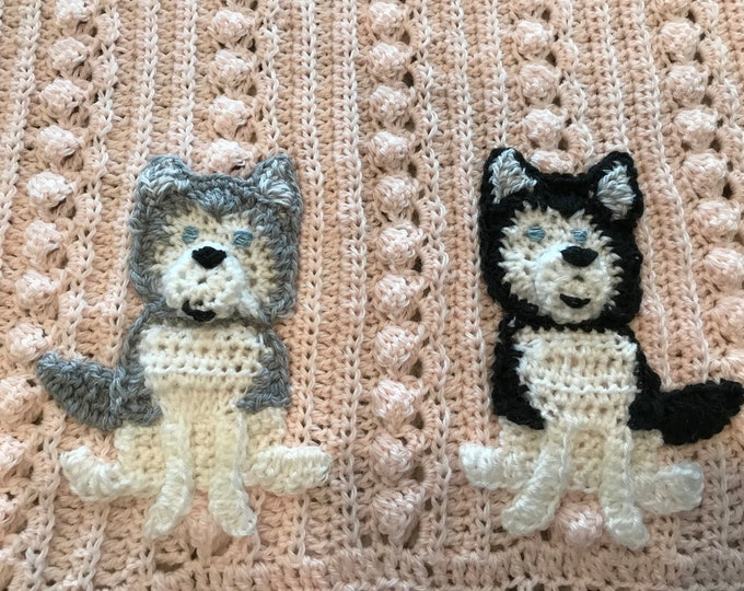 Crochet Husky Dog baby blanket,Security blankie, baby toddler crib sizes, Many themes available, 2 sizes, choice of animals and colors, gift