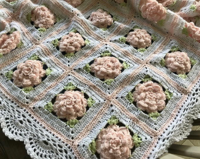 Rose Crochet flower blanket, 3 adult/large sizes, Original custom Baby Tuckers design, shower/wedding bridal gift,  many color choices