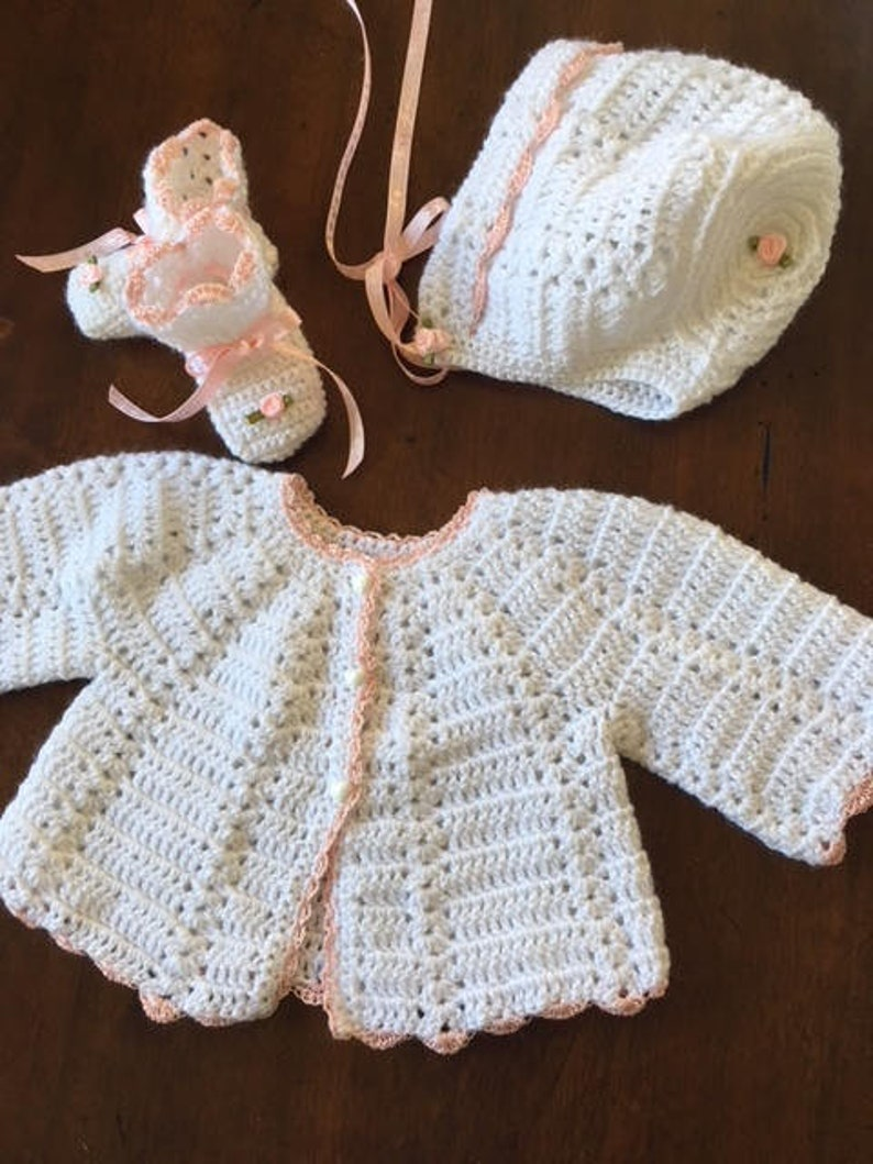 466350ff0 Hand crochet baby layette coming home white 3 piece sweater 4