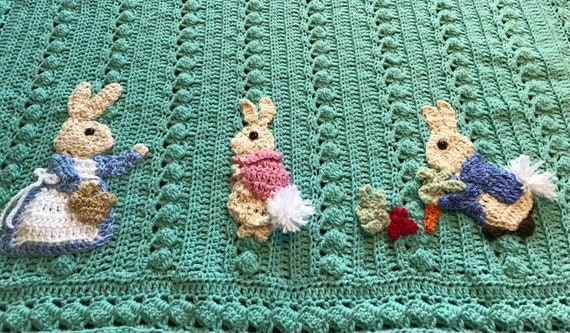 Baby blanket Beatrix Potter inspired, Peter,Cottontail,Mrs Josephine,2 sizes, many color and Applique choices, exclusive Baby Tuckers design