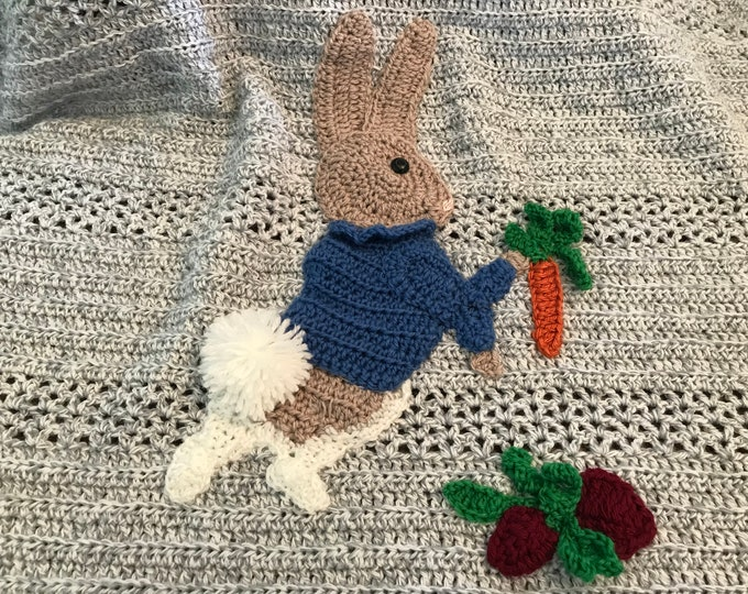 Baby blanket Peter rabbit, Beatrix Potter inspired, hand crochet,2 sizes, many color and Applique choices, exclusive Baby Tuckers design