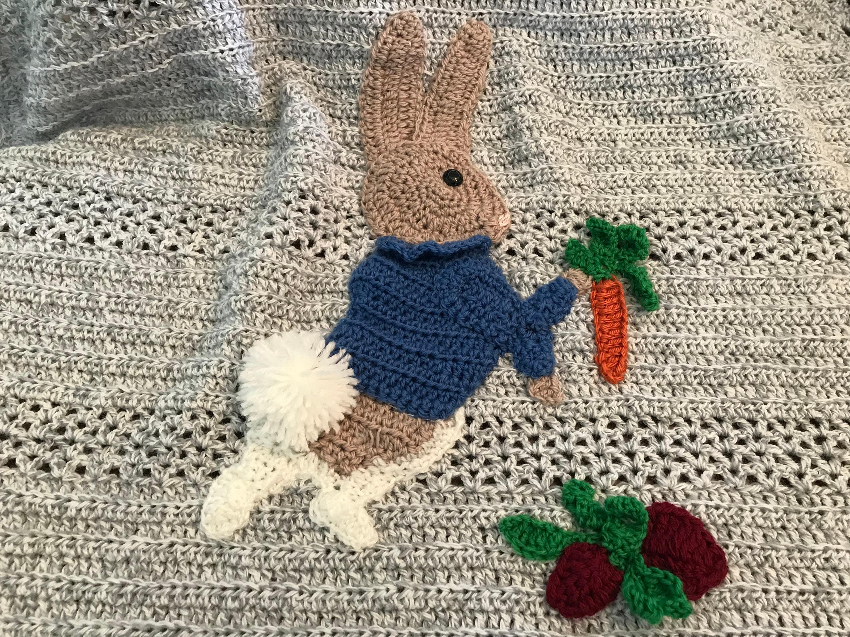 d5c4c9cb5 Baby blanket Peter rabbit theme,hand crochet,2 sizes,Custom color and  Applique choices,Original exclusive Baby Tuckers design,Beatrix Potter