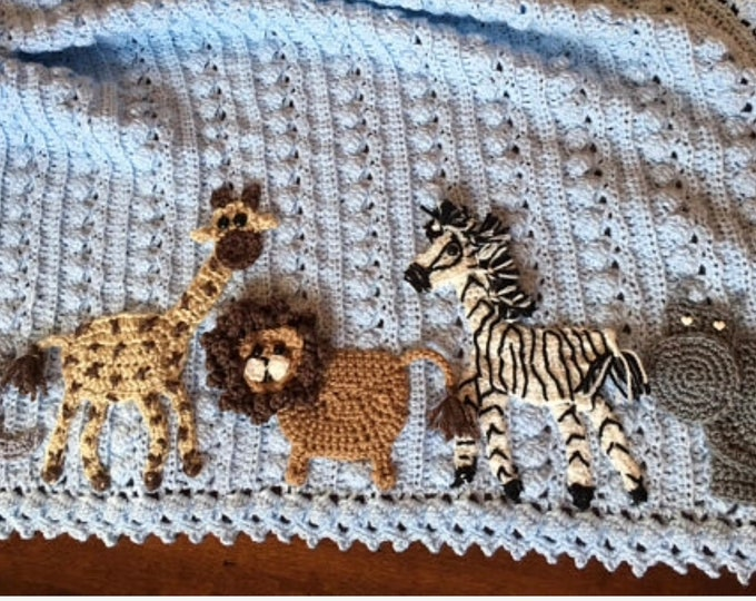 Crochet Jungle safari animal baby blanket,zoo, many themes available,crib, toddler sizes, choice of animals and colors, Baby Tuckers designs