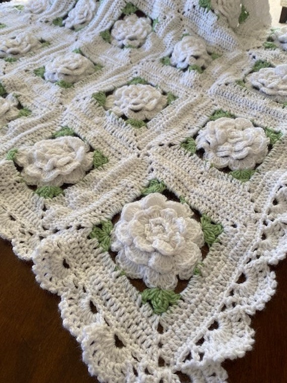 Rose Crochet flower blanket, 3 adult/large Sizes,Original Baby Tuckers afghan design, Anniversary/Bridal shower/wedding, many color choices