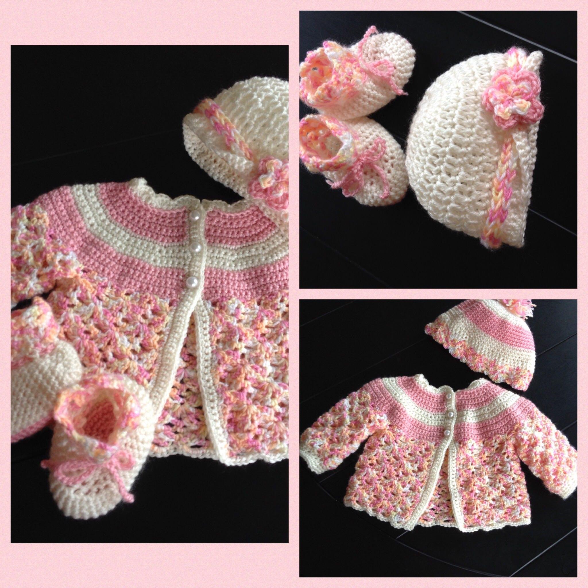 c2b10c41f Pink crochet baby layette cardigan sweater set Baby shower Newborn ...