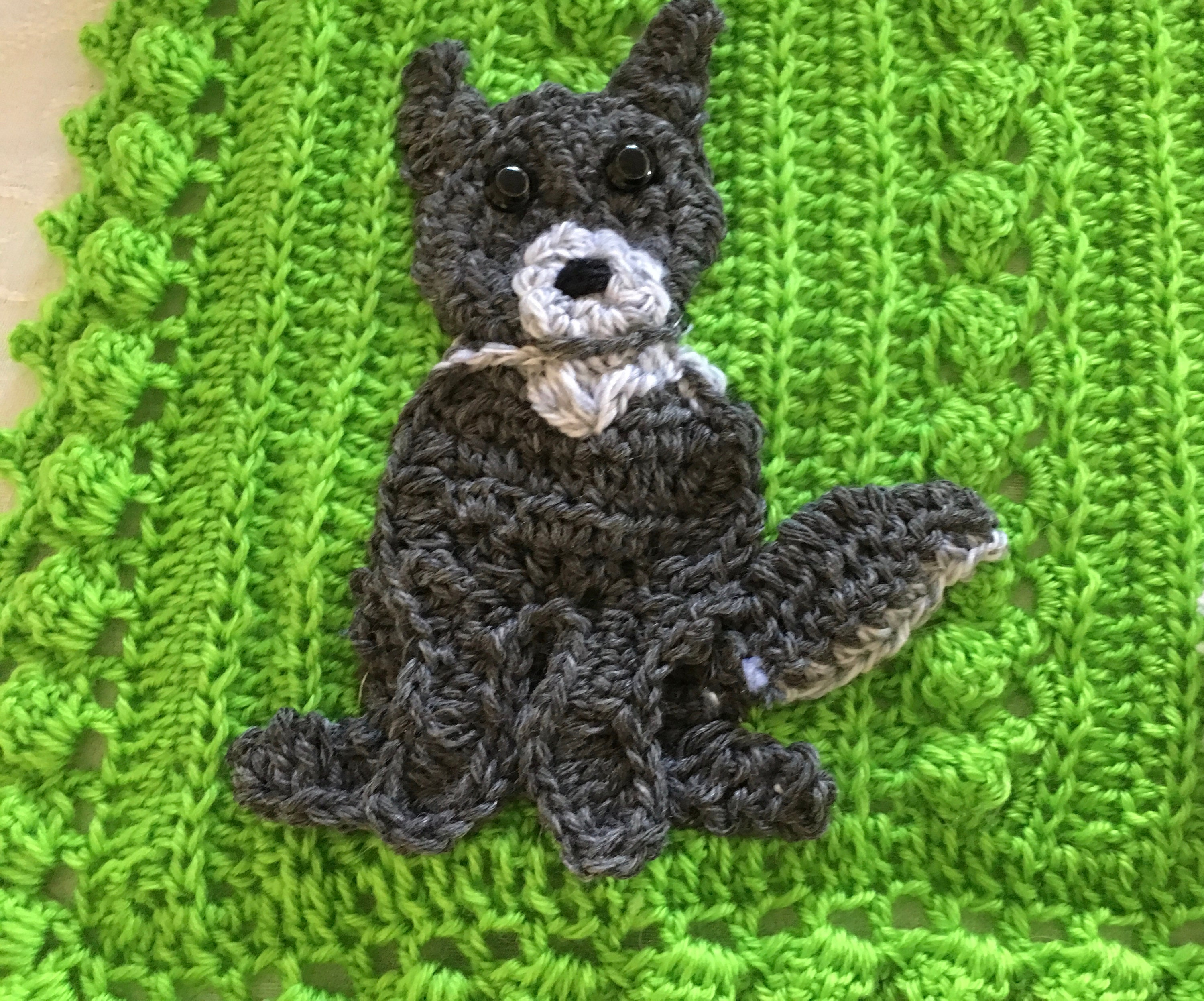 Crochet Wolf Woodlands Lovey Blanket Handmade Baby Animal Blanket