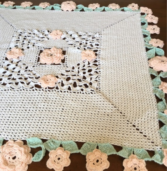 Handmade Irish crochet baby blanket, your choice of colors or, as shown in white with extensive border of light pink roses and mint leaves