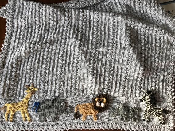 Crochet baby animal blanket, Safari, rhino lion elephant giraffe zebra,2 sizes, your choice of animals and colors, Baby Tuckers original