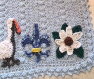 8760aa012c3 Crochet baby bedding Louisiana State theme
