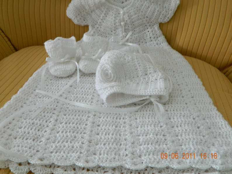 d3f2b77b4 Hand Crochet Christening 4 piece set WITH baby