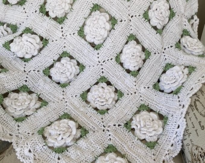 Rose Crochet flower baby/adult blanket, Original Baby Tuckers design,Christening/baby shower/wedding bridal gift,5 sizes, many color choices