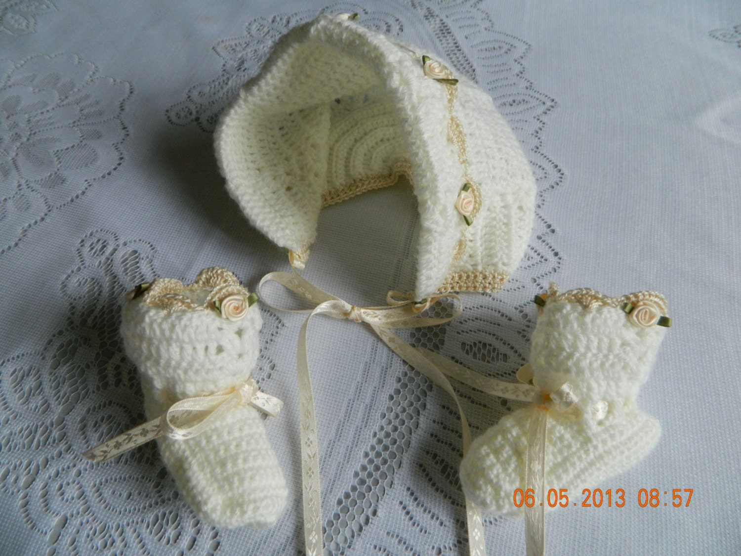 c0dca1be5 Baby Christening crochet 3 piece sweater set